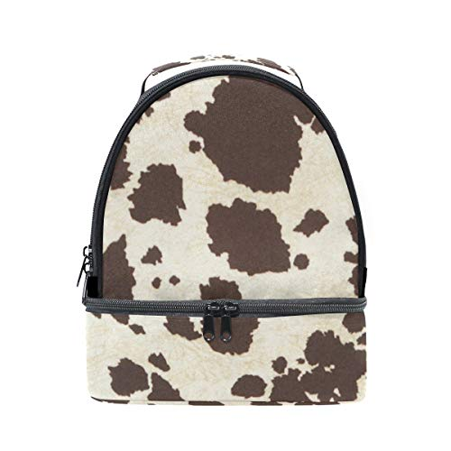 LALATOP Double Decker Lunch Bag Tote Bag Big Cow Fur Print Pattern Travel Picnic Lunch Handbags Portable Cooler Lunch Holder Box