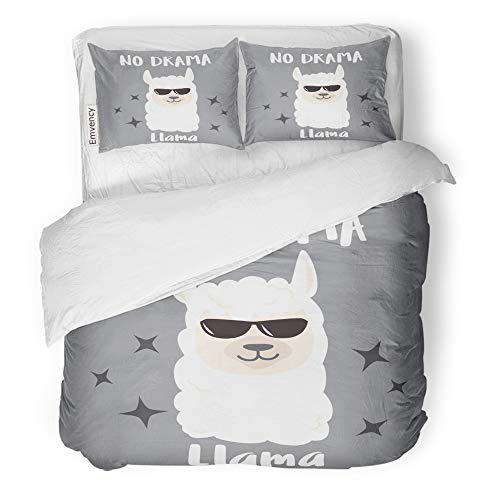Cute Halloween Quotes Baby (Emvency Decor Duvet Cover Set Full/Queen Size Alpaca Cute Cartoon Llama Design with No Drama Motivational Quote Animal Baby 3 Piece Brushed Microfiber Fabric Print Bedding Set)