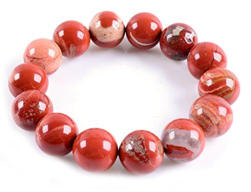 Natural AA Red Jasper Gemstones Healing Power Elastic Stretch 14mm Beads Beaded Bracelet 7