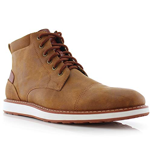 Ferro Aldo Birt MFA506027 Mens Memory Foam Casual Mid-Top Sneaker Desert Vegan Leather Chukka Boots Brown