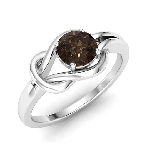 (Diamondere Natural and Certified Smoky Quartz Solitaire Engagement Ring in 14K White Gold | 0.40 Carat Infinity Knot Ring Size 7)