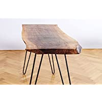 Solid Oak/Walnut Table. Wood Home Decor: Perfect for a Dining Table. Rustic Table with Live Top Edge and Steel Legs