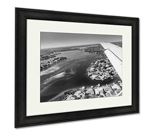 Ashley Framed Prints Aerial View Of Downtown St Petersburg Florida Landing At The Airport In St, Wall Art Home Decoration, Black/White, 26x30 (frame size), Black Frame, - Airport In Florida Locations