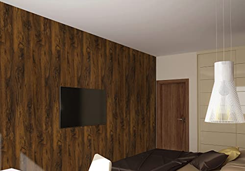 VANISA Wood Wallpaper Peel and Stick Self-Adhesive Vinyl Wallpaper 40.6×300cm Brown Grain Wood Effect Wallpaper Removable Decorative Furniture Sticker for Wall Kitchen Shelf Cabinet Wardrobe