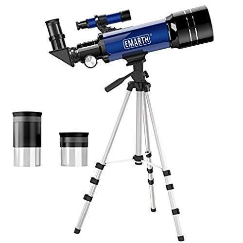 Emarth Telescope, Travel Scope, 70mm Astronomical Refracter Telescope with Tripod & Finder Scope, Portable Telescope for Kids Beginners (Blue) (Best Beginner Telescope For Kids)