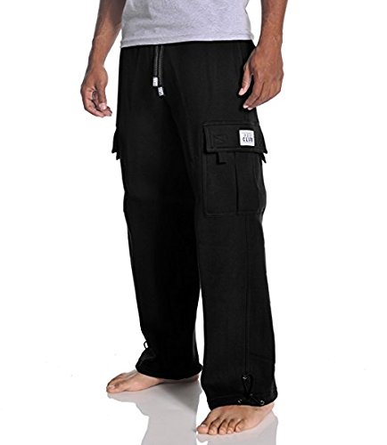 Pants Heavyweight Black - Pro Club Men's Heavyweight Fleece Cargo Pants, Large, Black