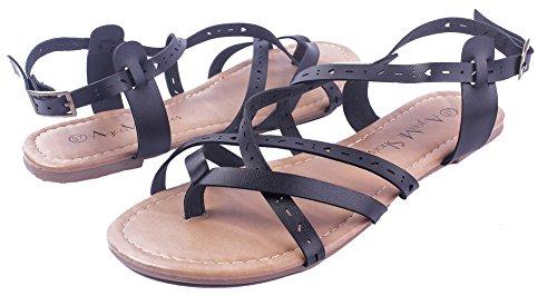 Sandales Boucle Femmecouleur Pu Noir Talon Unie Shoes Cuir Non Ageemi BwqOpC