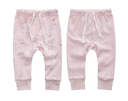 Owlivia Organic Cotton Baby Boy Girl 2-Pack Wiggle Pant Jogging Pant (Pink Rabbit+Pink Melange, 6-12Months)