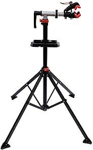 "HOMCOM Bike Repair Work Stand Adjustable Telescopic Arm 75"" Rack Tool Tray"