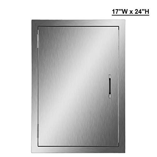 Outdoor Doors - CO-Z 304 Brushed Stainless Steel BBQ Door, SS Single Access Doors for Outdoor Kitchen, Commercial BBQ Island, Grilling Station, Outside Cabinet, Barbeque Grill, Built-in