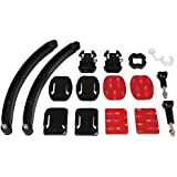 Helmet Arm Kit by HOLACA, Extendable Pole,Curved Flat Adhesive Mount, 3M Adhensive Pads with Buckles for Gopro Hero 2 3 3+ 4 4S 5Session Hero Session
