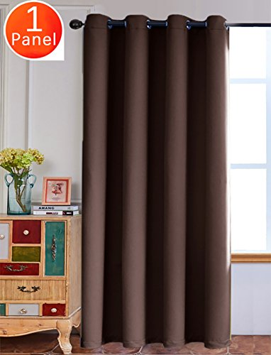 Yakamok Noise Reducing Blackout Curtains Formaldehyde-free Thermal Insulated Grommet Top Window Drape (1 Panel/ 52x96 Inch, Coffee) (X 60 90 Curtains)