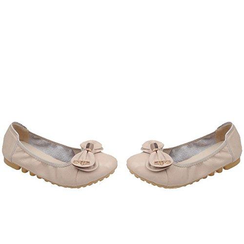 VogueZone009 Tirare Flats Albicocca Ballet Tonda Puro Donna Punta Luccichio 4qrFnB4