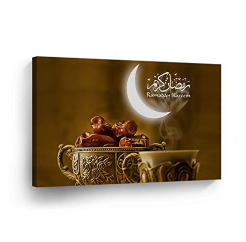 SmileArtDesign Islamic Wall Art Ramadan Kareem with Ottoman Glasses Canvas Print Home Decor Arabic Calligraphy Decorative Artwork Gallery Stretched and Ready to Hang – 100 Handmade in The USA – 24×36