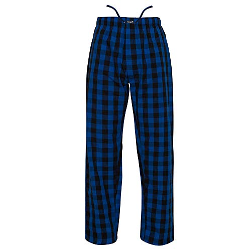 Ritzy Men's Pajama Lounge Pants 100% Cotton Plaid Woven Poplin ComfortSoft (XXL, Blue & Black ()