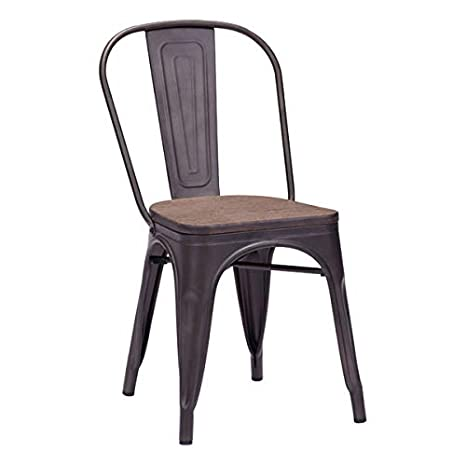 Marvelous Zuo Modern 108144 Elio Dining Chair 17 3W X 32 3H X 20 9L Overall Dimensions Elm Wood Top Steel Structure Rustic Wood Finish Ncnpc Chair Design For Home Ncnpcorg