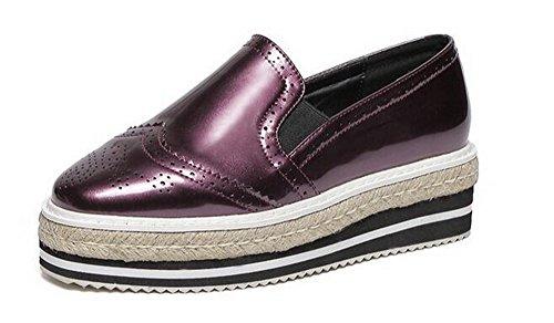 Amoonyfashion Dames Pull-on Vierkante Dichte Neus Kitten-hakken Pu Stevige Pumps-schoenen Paars