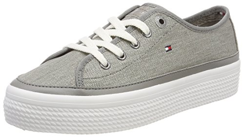 Glitter 004 Textile Women''s top Low Flatform Tommy light Grey Sneaker Hilfiger gqEwnvO