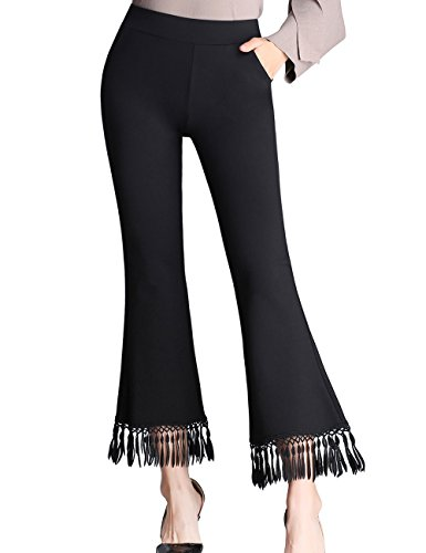 (ZOXO Women's Bell Bottom High Waist Tassel Flare Pants Stretch Curvy Fit Cropped Pants Small Black)