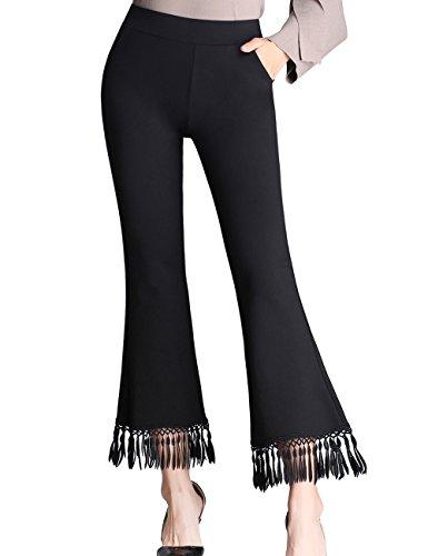 ZOXO Women's Bell Bottom High Waist Tassel Flare Pants Stretch Curvy Fit Cropped Pants XXX-Large - 3 Tassel Bell