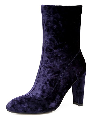 Women's Round Aisun Heels Purple Toe Fashion Booties High Frosted Block Top Mid 7UqnCdw6U