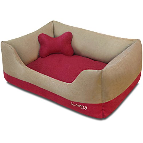 Blueberry Pet Heavy Duty Microsuede Overstuffed Bolster Lounge Dog Bed, Removable & Washable Cover w/YKK Zippers, 25' x 21' x 10', 6 Lbs, Beige and Red Color-Block Beds for Cats & Dogs