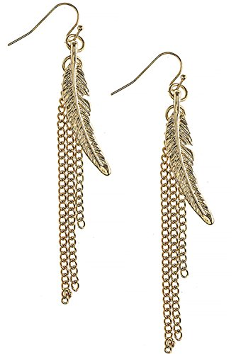 [Feather Charm Chain Fringe 316L Surgical Steel Earrings] (Fairy Princess Costume Diy)