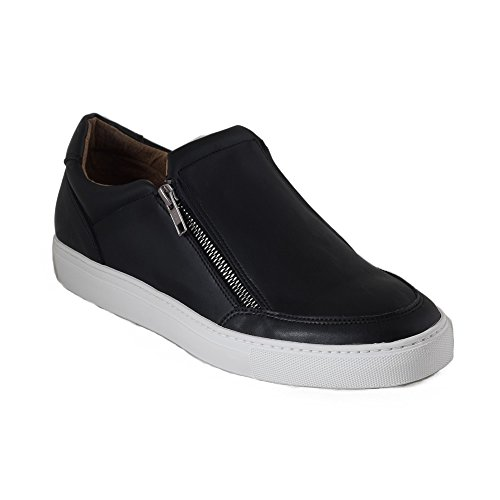 NAE Men's EFE Double Zipper Vegan Dress Sneaker in Black (44 (11 US) (US))