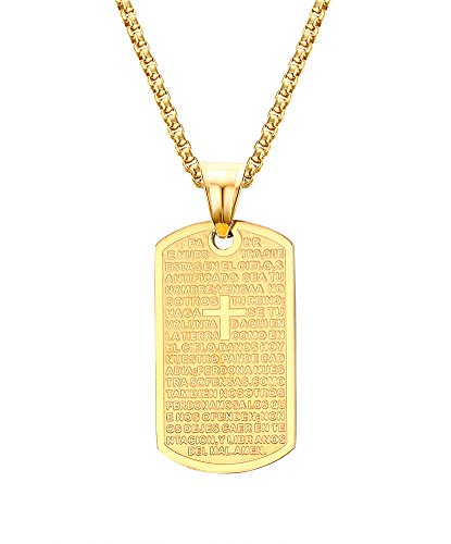 - 18K Gold Plated Stainless Steel Dog Tag Cross Scriptures Pendant Necklace with Free Chain 24