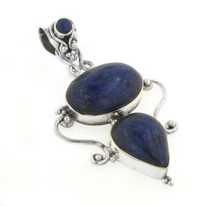 Large Genuine Blue Lapis Lazuli Sterling Silver Slide Pendant (Silver Slide Pendant)