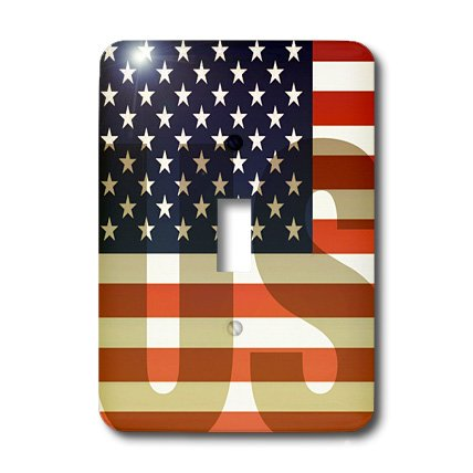 3dRose lsp_37608_1 Unites States American Flag With Us Watermark Single Toggle (Flag Single Toggle Switch)