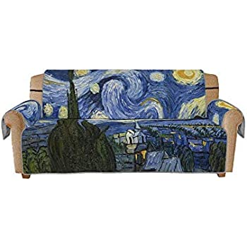 Muuyi Sofa Covers Decor for Living Room, Seat Sofa, Chair, Machine Washable, Slip Cover Throw for Pets (Friend), Dogs, Kid, Anti-Slip Furniture Protector with 3D Printing - The Starry Night