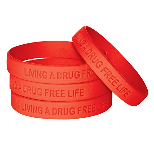 Living A Drug Free Life (10 Pack) Silicone Bracelet, Red Ribbon Week