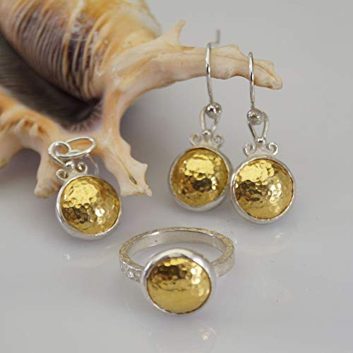 Without Stones Yellow Pendant - Sterling Silver 2 Tone Hammered Ring Earrings Pendant Set 24k Yellow Gold Plated