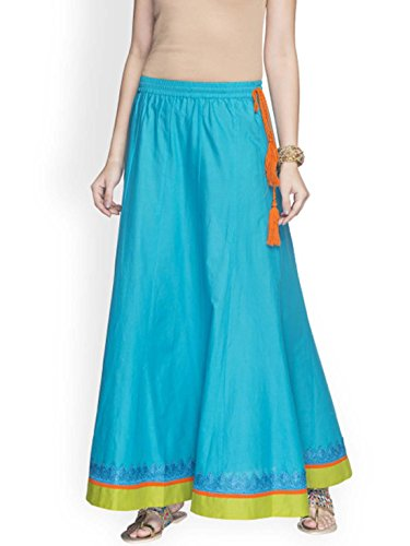Indian Handicrfats Export Globus Turquoise Blue & Lime Green Solid Flared Skirt