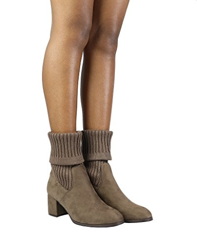Heel DREAM s Khaki Womens Ankle Chunky ANKLEG PAIRS Booties wqOIqTH