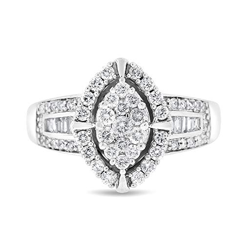 1.50 Ct. Natural Diamond Marquise Shape Cocktail Ring in Solid 14k White Gold ()