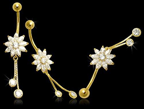 Anneau de nombril Fleur de tournesol avec pierre zirconia pendante 14 Carats Or jaune solide - Banane 14Gx3/8 (1.6x10MM) avec Boule 5MM