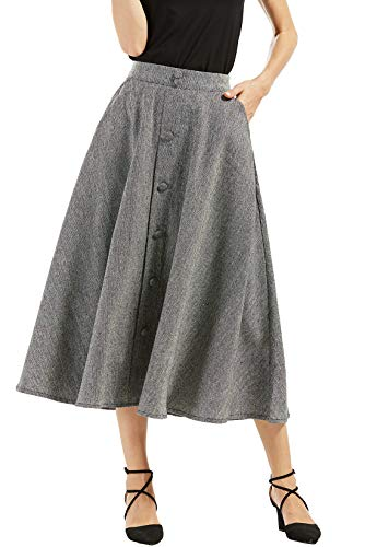 - chouyatou Woman's Vintage High Waist Front Button Long Skirt with Pockets (X-Small, Grey)
