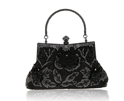 Ladies Dress Bridal Clutch Dress Bag Black Bag Retro FZHLY Embroidery Cross Evening Couture Bag Chic Heavy Shoulder CgXdgwvq