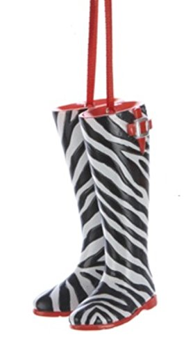 "Kurt Adler 3"" Fashion Avenue Zebra Print Rainboot Christmas Ornament"