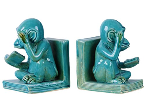 Urban Trends 2 Piece Ceramic Sitting Reading Monkey Bookend Coated, Turquoise (Sitting Monkey)