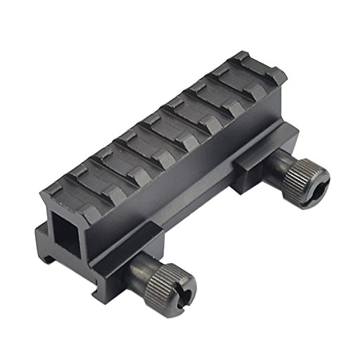 - 1'' Picatinny Riser Mount w/See Through Hole for Scopes and Optics, 3.3'' long, 8 Slot
