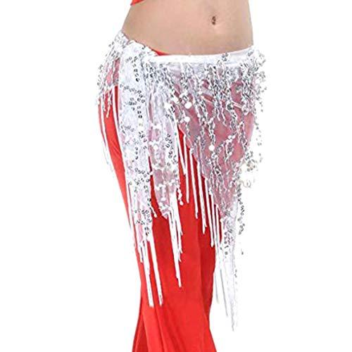 (Gloryelenxs Lady Women Belly Dance Hip Scarf Accessories Belt Skirt Bellydance Waist Chain Wrap Adult Dance Wear)