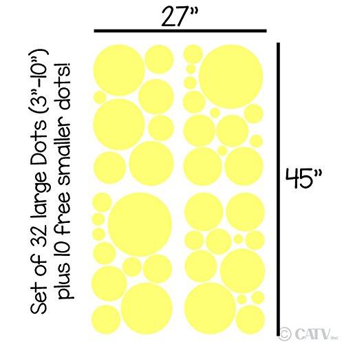 Assorted Vinyl Polka Dots circle wall decals vinyl stickers nursery decor (Lemon/set of 32)