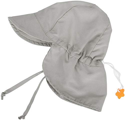 SimpliKids UPF 50+ UV Ray Sun Protection Baby Hat w/Neck Flap,Grey,0-12Months