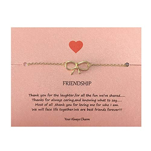 (Your Always Charm Bow Bracelet,Daity Bow Knot Link Best Friend Bracelet with Message Card (Gold) )