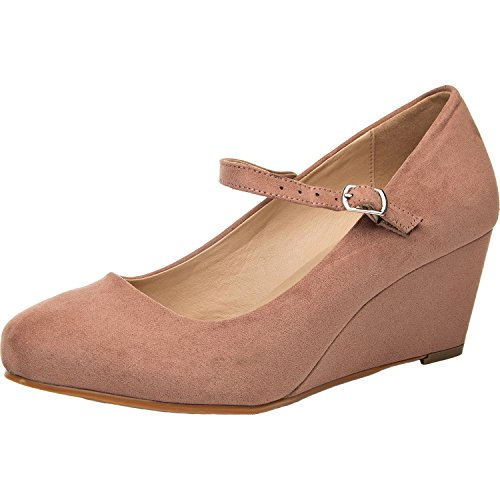 Women's Wide Width Wedge Shoes - Mary Jane Shoes w/Ankle Buckle Strap, Plus Size Heel Pump w/Round Closed Toe Rubber Sole Memory Foam Insole.(Pink 180108,12.5WW) ()