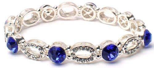 Shape Stretch Bracelet - Silver Sapphire Crystal Rhinestone Oval Shape Stretch Bracelet