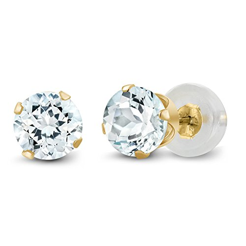 14K Yellow Gold Sky Blue Aquamarine 4-prong Stud Earrings (0.90 cttw, 5MM Round Cut) 14k Aquamarine Stud